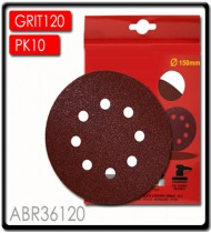 SANDING DISC VELCRO 150MM 120 GRIT WITH HOLES 10/PK