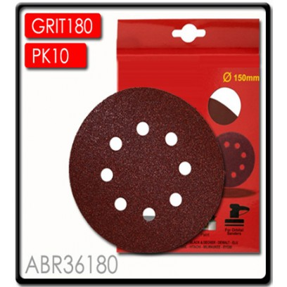 SANDING DISC VELCRO 150MM 180 GRIT WITH HOLES 10/PK
