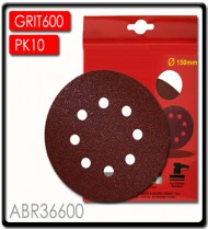 SANDING DISC VELCRO 150MM 600 GRIT WITH HOLES 10/PK