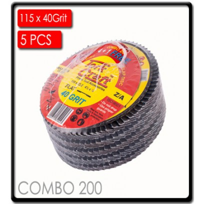 FLAP DISC ZIRCONIUM 115MM 40 GRIT FLAT 4+1 FREE
