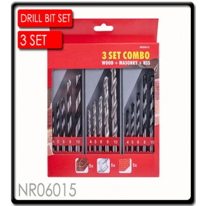 Drill Bit 3 Set Combo Wood + Masonry + HSS