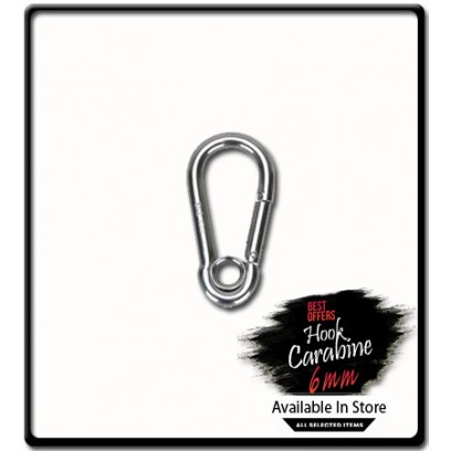 6mm x 60 Carabine Hook with Eyelet | Galvanized