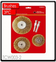 WIRE BRUSH SET 3PCE WITH SEPARATE SHAFT